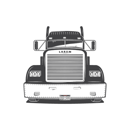 American Cargo Truck Isolated on White. Freight Solutions. Trucking Logo Detailed. Illustration