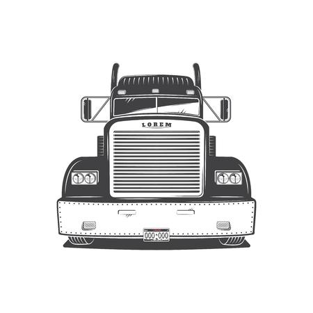 Amerikaanse vrachtwagen geïsoleerd op wit. Vrachtoplossingen. Trucking Logo Detail.