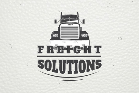 Delivery service. Cargo transportation and logistics. Freight Solutions. Trucking Logo Detailed. Typographic labels, stickers, logos and badges. Ilustração