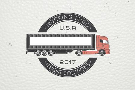 Leveringsdienst. Vrachtvervoer en logistiek. Vrachtoplossingen. Trucking Logo Detail. Typografische labels, stickers, logo's en badges.