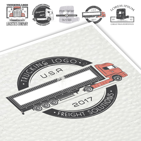 Delivery service. Cargo transportation and logistics. Freight Solutions. Trucking Logo Detailed. Typographic labels, stickers, logos and badges. Illustration