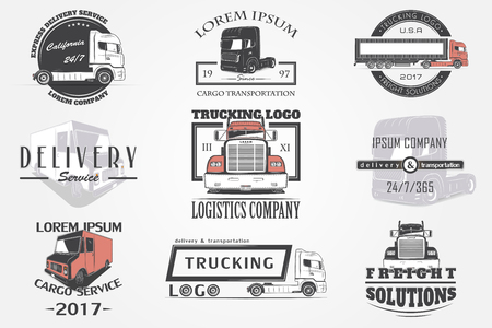 Delivery service. Cargo transportation and logistics. Freight Solutions. Trucking Logo Detailed. Typographic labels, stickers, logos and badges. Иллюстрация