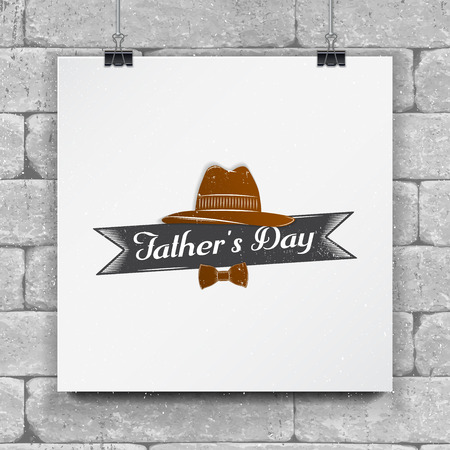 Happy Fathers Day greeting. Detailed elements. Old retro vintage. Typographic labels, stickers, logos and badges.