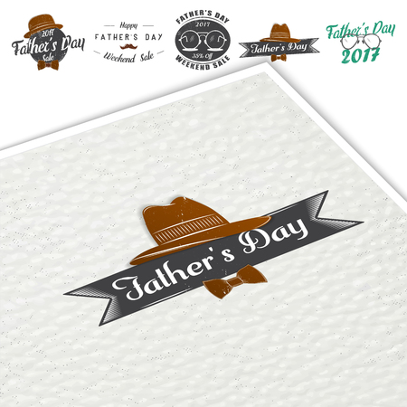 幸せな父の日の挨拶。詳細な要素。古いレトロなビンテージ。活版印刷ラベル、ステッカー、ロゴとバッジ。  イラスト・ベクター素材