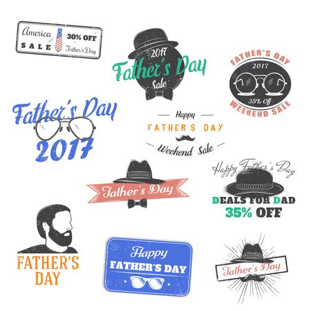 Happy Father s Day greeting. A set of Nine Black Colored Vintage Style Father s Day Designs on White background. Typographic labels, stickers, logos and badges. Ilustração