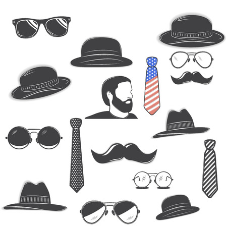 Gentlemans club set. Happy Fathers Day a Set of detailed objects isolated on white background. Flat vector illustration.