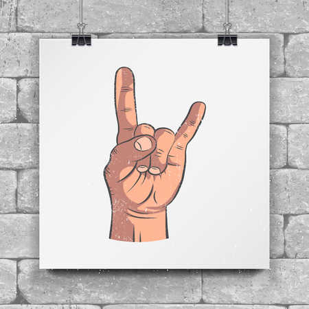 Rock and Roll hand sign. Hand-drawn icon Horns up - traditional heavy metal. Mock up style.