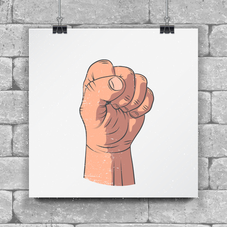 Realistic sketch hands - gestures. Hand-drawn icon clenched fist. Mock up style. Hand painted. Illustration