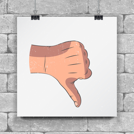 Realistische schetshanden - gebaren. Hand duim omlaag of afwijzing symbool. Bespeel stijl.