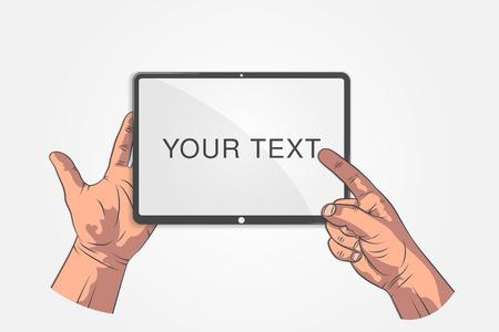 Realistische schetshanden. Hand houden tablet, smartphone, telefoon en wijzen op scherm.