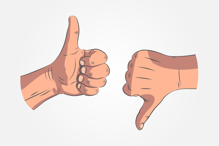 Realistic sketch hands - gestures. Hand-drawn icon hands showing Ok sign or thumbs up. Hand thumb down or rejection symbol.