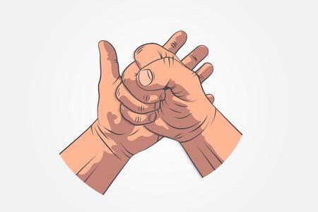 Realistische handen - gebaren. Hand geschilderd. Vuist op een palm. Stock Illustratie
