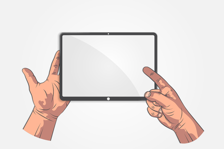 Realistic sketch hands. Hand hold tablet, smartphone, phone and pointing on screen. Your text in tablet display mock up style.