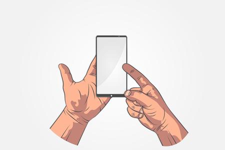 Realistische schetshanden. Hand houden tablet, smartphone, telefoon en wijzen op scherm. Uw tekst in mock-up stijl op tablet-display.