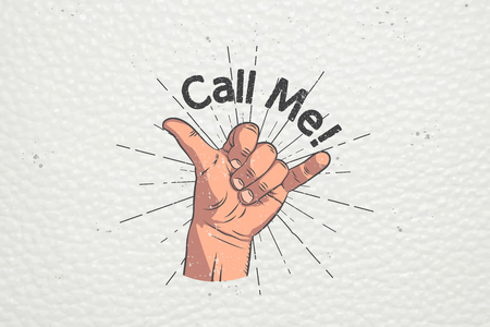 Realistic hand gesture - call me. Shaka brah. Gestures and signals: dial my number, call me back, dial my number, contact by phone. Flat vector illustration