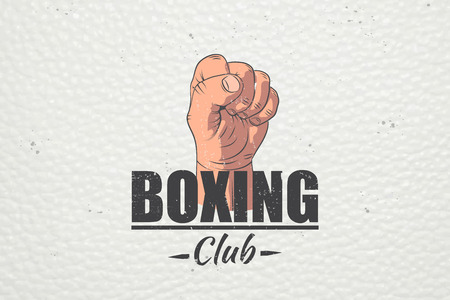 Realistic and detailed boxing club emblem. Boxing Club Fights. Sports club. Typographic labels, stickers, logos and badges. Flat vector illustration