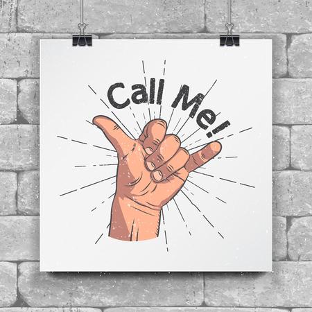 現実的なハンド ジェスチャー - 私を呼び出します。シャカの仲間。ジェスチャーと信号: 私の電話番号をダイヤル、私を呼んで、私の電話番号をダ