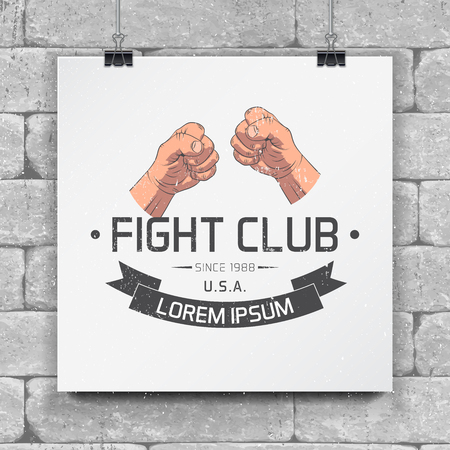 Realistic and detailed fist emblem. Fighting club emblems, MMA, boxing typographic labels, stickers, logos and badges. Flat vector illustration