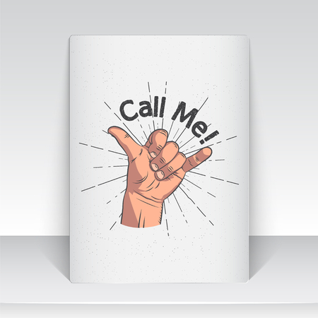 Realistic hand gesture - call me. Shaka brah. Gestures and signals dial my number, call me back, dial my number, contact by phone. Flat vector illustration