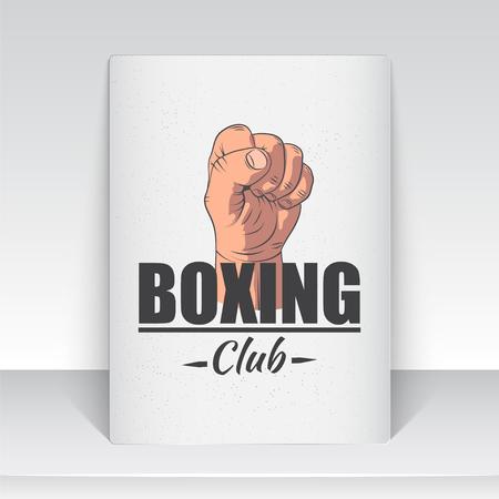 Emblème de club de boxe réaliste et détaillé. Boxing Club Fights. Club de sport. Étiquette avec des étiquettes typographiques, des autocollants, des logos et des badges illustrés à la main. Banque d'images - 82079786
