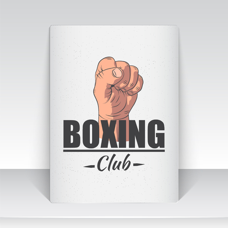Realistic and detailed boxing club emblem. Boxing Club Fights. Sports club. Label with hand and text typographic labels, stickers, logos and badges flat vector illustration Çizim