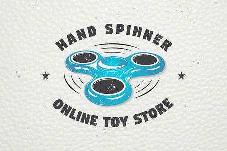 Hand Fidget Spinner Stress Relief Toys. Detailed object. Typographic labels, stickers, logos and badges.
