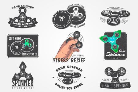 Set van Hand Fidget Spinner Stress Relief Toys. Gedetailleerd object. Typografische labels, stickers, logo's en badges. Platte vectorillustratie