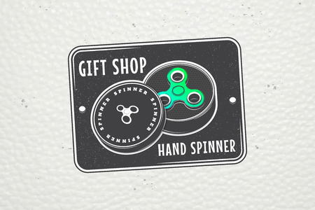 Hand Fidget Spinner Stress Relief Toys. Detailed object. Typographic labels, stickers, logos and badges. Flat vector illustration