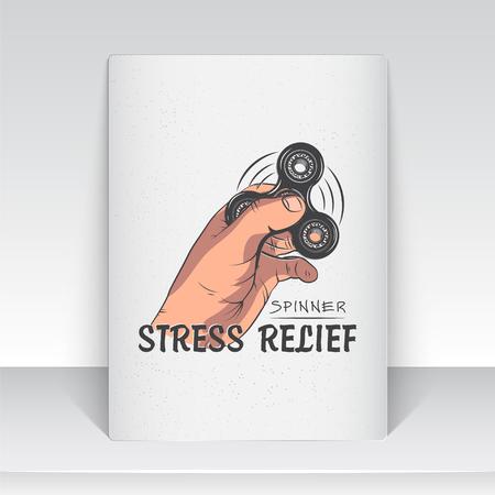 Hand Fidget Spinner Stress Relief Toys. Gedetailleerd object. Typografische labels, stickers, logo's en badges. Platte vectorillustratie