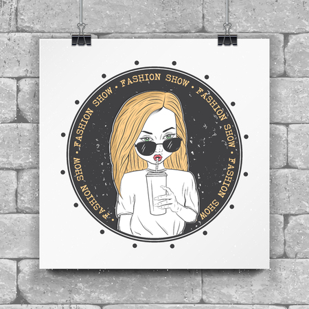 A painted girl drinking juice, tea, coffee. Fashion show. Detailed object. Typographic labels, stickers, and badges. Flat vector illustration Stok Fotoğraf
