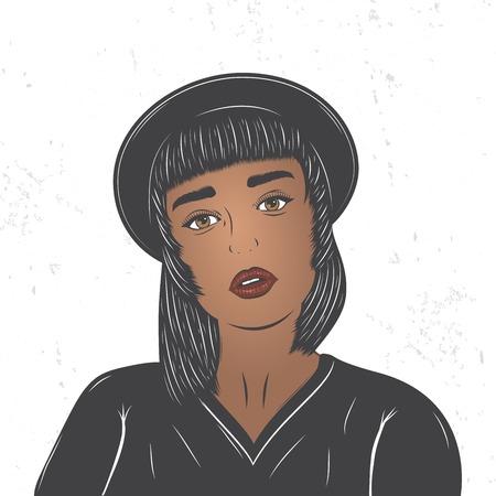 Mulatto girl in a black hat. Fashion show. Flat vector illustration