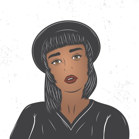 Mulatto girl in a black hat. Fashion show. Flat vector illustration