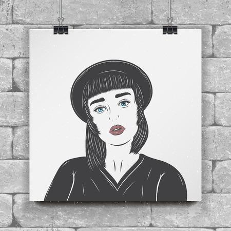 Girl in a black hat. Fashion show. Flat vector illustration Çizim
