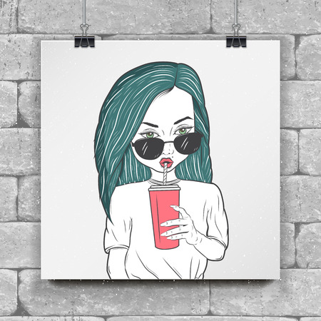 hair style: A painted girl drinking juice, tea, coffee. Fashion show. Detailed object. Typographic labels, stickers, logos and badges. Flat vector illustration Illustration