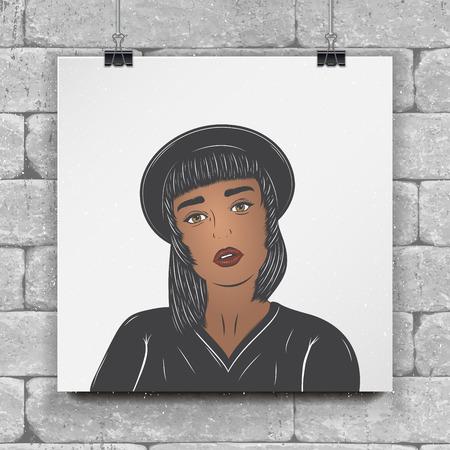Mulatto girl in a black hat.