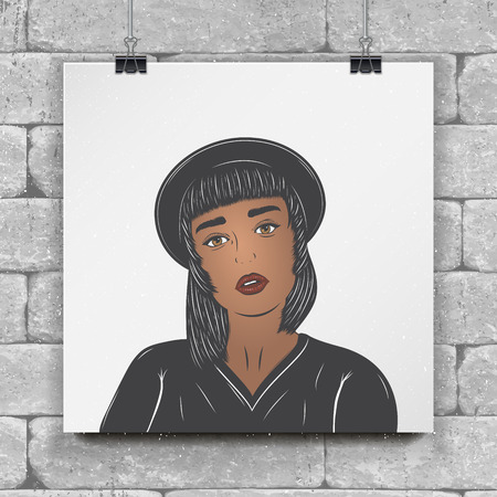 Mulatto girl in a black hat.