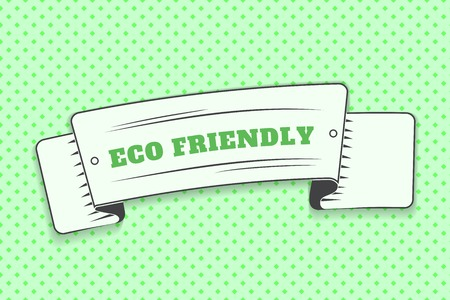 Eco friendly green label. White ribbon in the form of a banner with a text eco friendly. Advertising, banner, logo in the style of pop art. Flat vector illustration Çizim