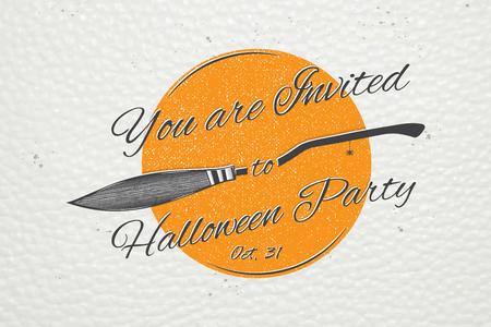 Happy Halloween. Invitation to a party of Halloween. Typographic labels, stickers, logos and badges. Çizim