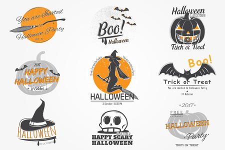 Happy Halloween. Invitation to a party of Halloween. Typographic labels, stickers, logos and badges. Flat vector illustration