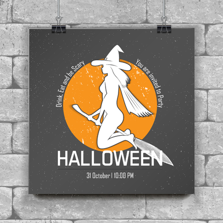 Happy Halloween set. Invitation to a party of Halloween. Chalk on a black background. Typographic labels, stickers, logos and badges. Flat vector illustration