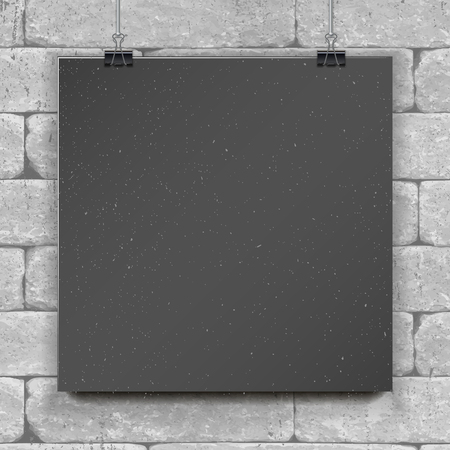 Show your logo, label, brochures, flyers, brochures, headlines etc.Highly detailed realistic design template element.Empty black vector paper mockup hanging with paper clips. On brick wall background
