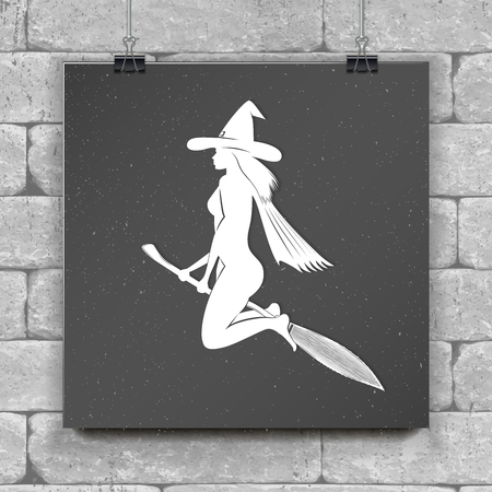 Happy Halloween. Witch on a broom - silhouette. Chalk on a black background. Typographic labels, stickers, logos and badges. Flat vector illustration Çizim