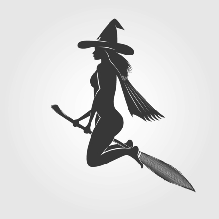 Happy Halloween. Witch on a broom - silhouette. Typographic labels, stickers, logos and badges. Flat vector illustration