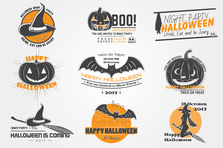Happy Halloween set. Invitation to a party of Halloween. Typographic labels, stickers, logos and badges. Flat vector illustration
