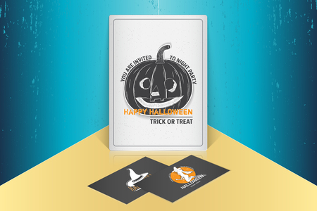Happy Halloween. Invitation to a party of Halloween. Mock up style. Typographic labels, stickers, logos and badges.