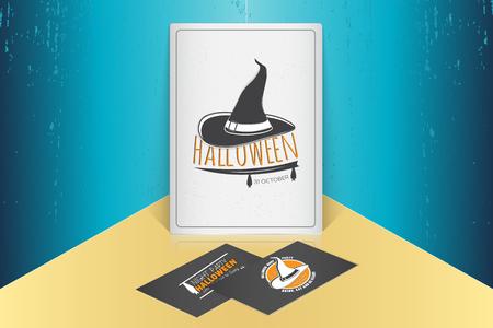 Fijne Halloween. Uitnodiging voor een feestje van Halloween. Bespeel stijl. Typografische labels, stickers, logo's en badges.