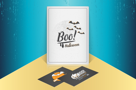 Happy Halloween. Invitation to a party of Halloween. Mock up style. Typographic labels, stickers, logos and badges. Flat vector illustration Ilustrace