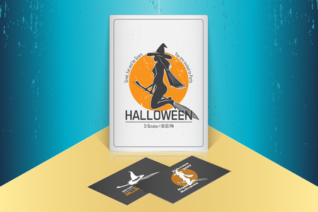 Happy Halloween. Invitation to a party of Halloween. Mock up style. Typographic labels, stickers, logos and badges. Flat vector illustration Illustration