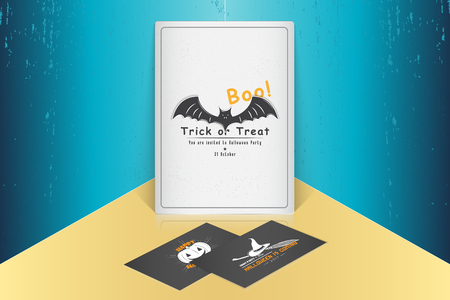Happy Halloween. Invitation to a party of Halloween. Mock up style. Typographic labels, stickers, logos and badges. Flat vector illustration Stok Fotoğraf - 88606841