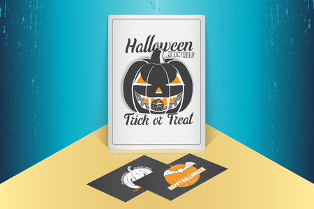 Happy Halloween. Invitation to a party of Halloween. Mock up style. Typographic labels, stickers, logos and badges. Flat vector illustration Stock Photo